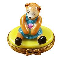 Limoges Imports Mini Bear On Yellow Base Limoges Box