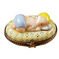 Limoges Imports Blue Baby Sleeping Limoges Box