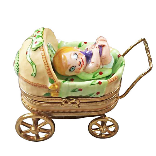 Limoges Imports Baby In Pram Limoges Box