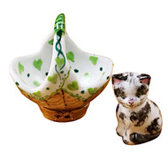 Limoges Imports Cat In Green Basket Limoges Box