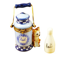 Limoges Imports Cat With Milk Jug And Bottle Limoges Box