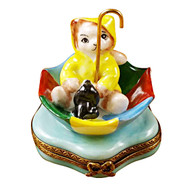 Limoges Imports Cat In Umbrella Limoges Box
