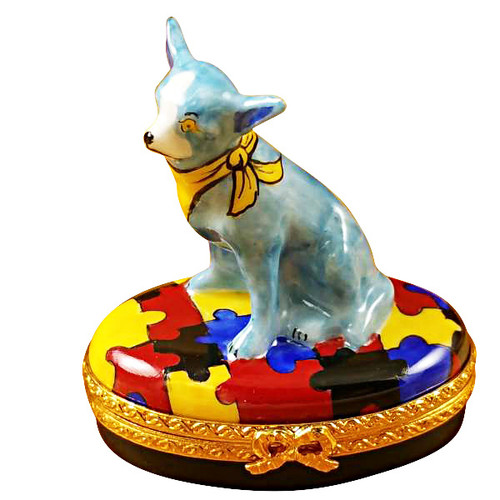 Limoges Imports Blue Chihuahua Limoges Box