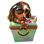 Limoges Imports Brown Spaniel In Package Limoges Box