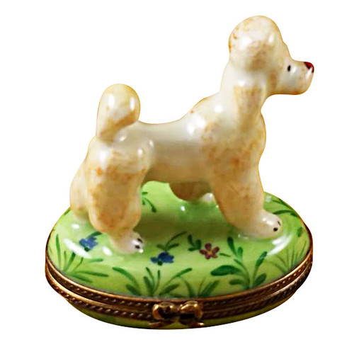 Limoges Imports Apricot Poodle On Green Base Limoges Box