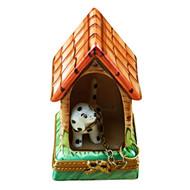 Limoges Imports Dalmatian W/Dog House Limoges Box
