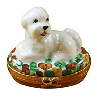 Limoges Imports Bichon Lying Down Limoges Box