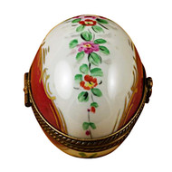 Limoges Imports Burgundy Egg With Flowers Limoges Box