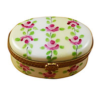 Limoges Imports Oval White/Beige Striped Limoges Box