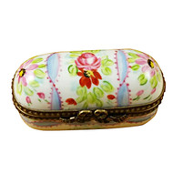 Limoges Imports Long Blue Flowery Limoges Box