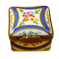 Limoges Imports Square Box W/Blue & Gold Limoges Box