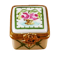 Limoges Imports Tiny White/Green Square Limoges Box