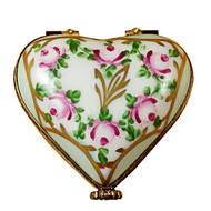 Limoges Imports Light Blue Floral Heart Limoges Box