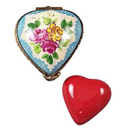 Limoges Imports Yellow & Blue Heart W/ Removable Red Heart Limoges Box
