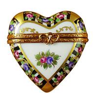 Limoges Imports Black & White Heart Limoges Box