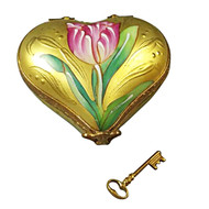 Limoges Imports Key To My Heart With Tulips And Removable Key Limoges Box
