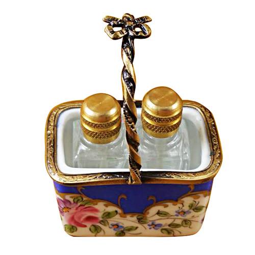 Limoges Imports Blue Basket W/2 Bottles Limoges Box