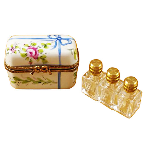 Limoges Imports White Flowery W/3 Bottles Limoges Box