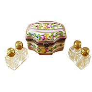 Limoges Imports Pink Flower W/4 Bottles Limoges Box