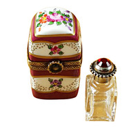 Limoges Imports Burgundy Tall With Flowers And Bottle Limoges Box