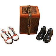 Limoges Imports Trunk W/2  Pair Mens Shoes Limoges Box