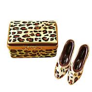 Limoges Imports Leopard Shoe Box W/Shoes Limoges Box