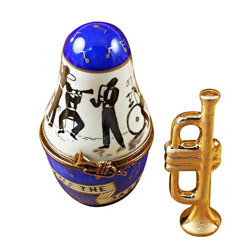 Limoges Imports Jazz Band Case W/Trumpet Limoges Box
