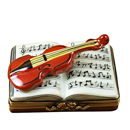 Limoges Imports Music Book W/Violin Limoges Box