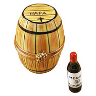 Limoges Imports Wine Barrel W/Bottle Limoges Box