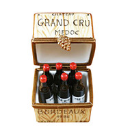 Limoges Imports Crate W/6 Bottles Limoges Box