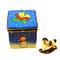 Limoges Imports Blue Christmas Cube W/Rocking Horse Limoges Box