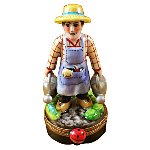 Limoges Imports Gardener W/Watering Cans Limoges Box