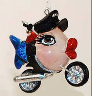Katherine's Collection Biker on Motorcycle Kissing Fish BLUE Tail