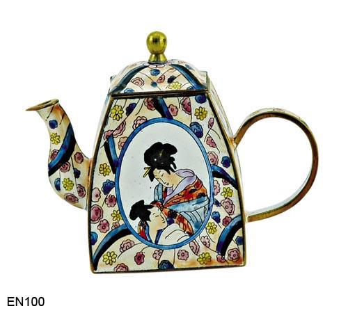 EN100 Kelvin Chen Japanese Man & Woman Enamel Teapot