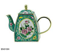 EN31GN Kelvin Chen Green Floral Enamel Teapot
