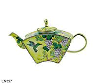 EN397 Kelvin Chen Hummingbird Floral Enamel Teapot