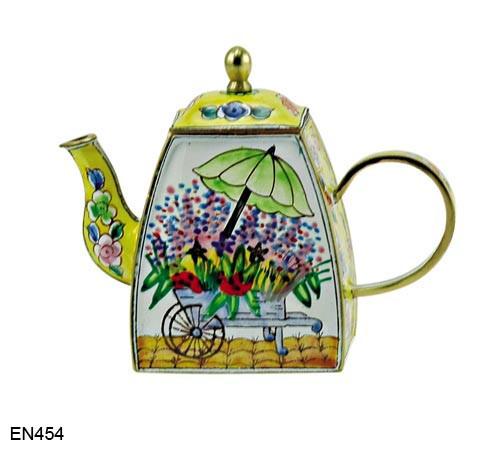 EN454 Kelvin Chen Flower Cart Enamel Teapot