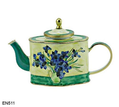 EN511 Kelvin Chen Vincent Van Gogh Blue Flowers in Vase Enamel Teapot