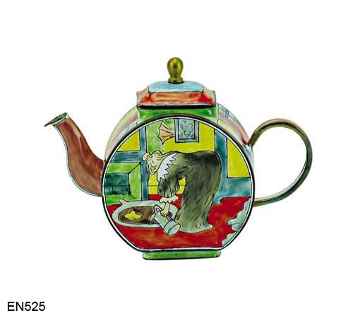 EN525 Kelvin Chen Henri de Toulouse-Lautrec Woman at the Tub Enamel Teapot