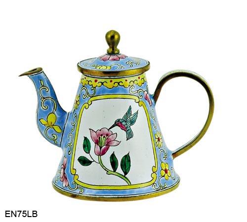EN75LB Kelvin Chen Flower and Hummingbird Blue Enamel Teapot
