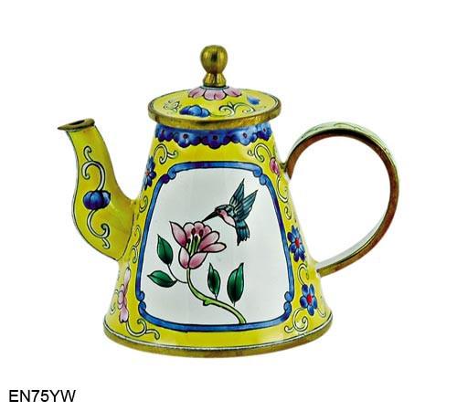 EN75YW Kelvin Chen Flower and Hummingbird Yellow Enamel Teapot