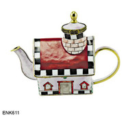 ENK611 Kelvin Chen Red Roof House Enamel Hinged Teapot