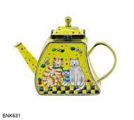 ENK631 Kelvin Chen The Kitty Cat Family Enamel Hinged Teapot