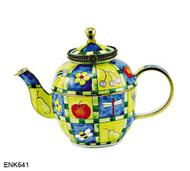 ENK641 Kelvin Chen Flowers, Fruit and Bumblebee Enamel Hinged Teapot