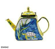 ENK642 Kelvin Chen Turtle Enamel Hinged Teapot