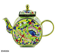 ENK654 Kelvin Chen Dragonfly, Butterfly and Bumblebee Floral Enamel Hinged Teapot