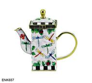 ENK657 Kelvin Chen Dragonflies Enamel Hinged Teapot