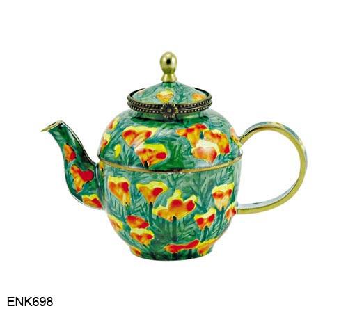 ENK698 Kelvin Chen California Poppies Enamel Hinged Teapot
