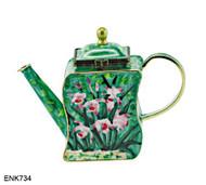 ENK734 Kelvin Chen Lavender Pink Hardy Orchid Enamel Hinged Teapot