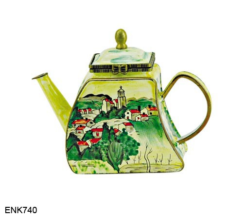 ENK740 Kelvin Chen Cezanne Village of Gardanne The Brooklyn Museum, NY Enamel Hinged Teapot